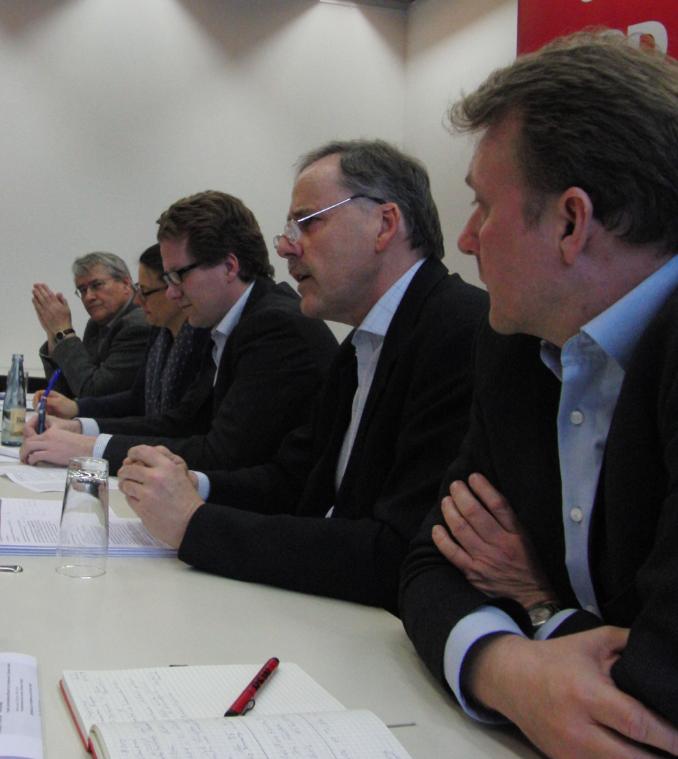 v.l.n.r.: Andreas Fleischer, Nina Scheer, Martin Habersaat, Detlef Palm, Olaf Schulze